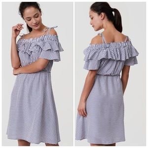 Loft  Striped Off the Shoulder Meadow Dress